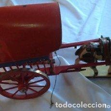 Juguetes antiguos de hojalata: CARRETA DE MADERA CON LONA DE HOJALATA . AÑOS 50. Lote 150842414