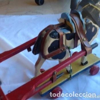 Juguetes antiguos de hojalata: CARRETA DE MADERA CON LONA DE HOJALATA - Foto 8 - 150842414
