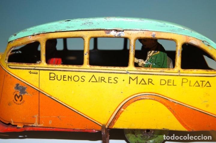 Juguetes antiguos de hojalata: COLECTIVO MATARAZZO AUTOBUS HOJALATA AÑOS 30 RARO - Foto 7 - 150948118