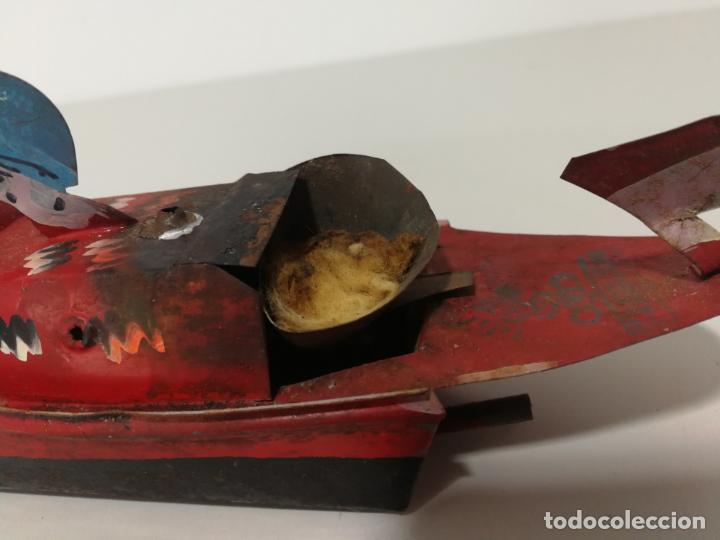 Juguetes antiguos de hojalata: LANCHA BARCO DE HOJALATA CON QUEMADOR HECHO A MANO - Foto 7 - 152485130