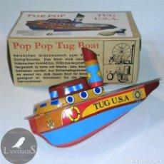 Juguetes antiguos de hojalata: BARCO HOJALATA LITOGRAFIADA POP POP, JUGUETE MOTOR A VAPOR , TUG USA. Lote 145008274
