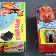 Altes Blechspielzeug - Hucha hipopótamo Hippo Banco Hedi hojalata a cuerda con caja años 60 Funciona - 154149226