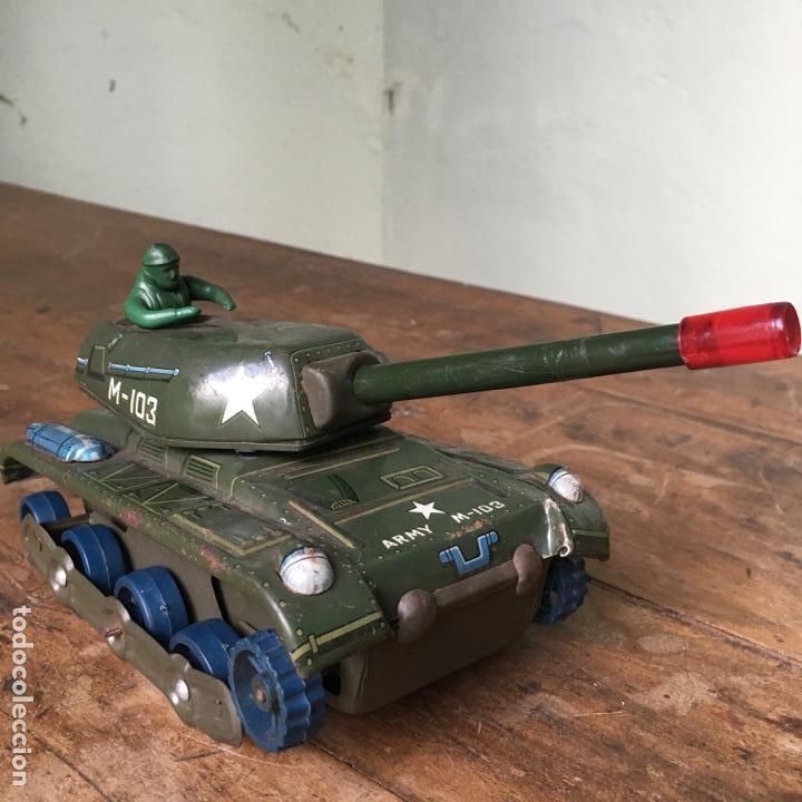 Juguetes antiguos de hojalata: Tanque M-103 de Modern Toys Made in Japan - Foto 7 - 155972858