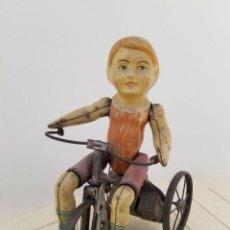 Juguetes antiguos de hojalata: UNICO MARXS NO CONFUNDIR CON UNIQUE ART KIDDY .PIEZA RARISIMA AÑOS 1900 TRICICLO CICLISTA MUSEO. Lote 156002706