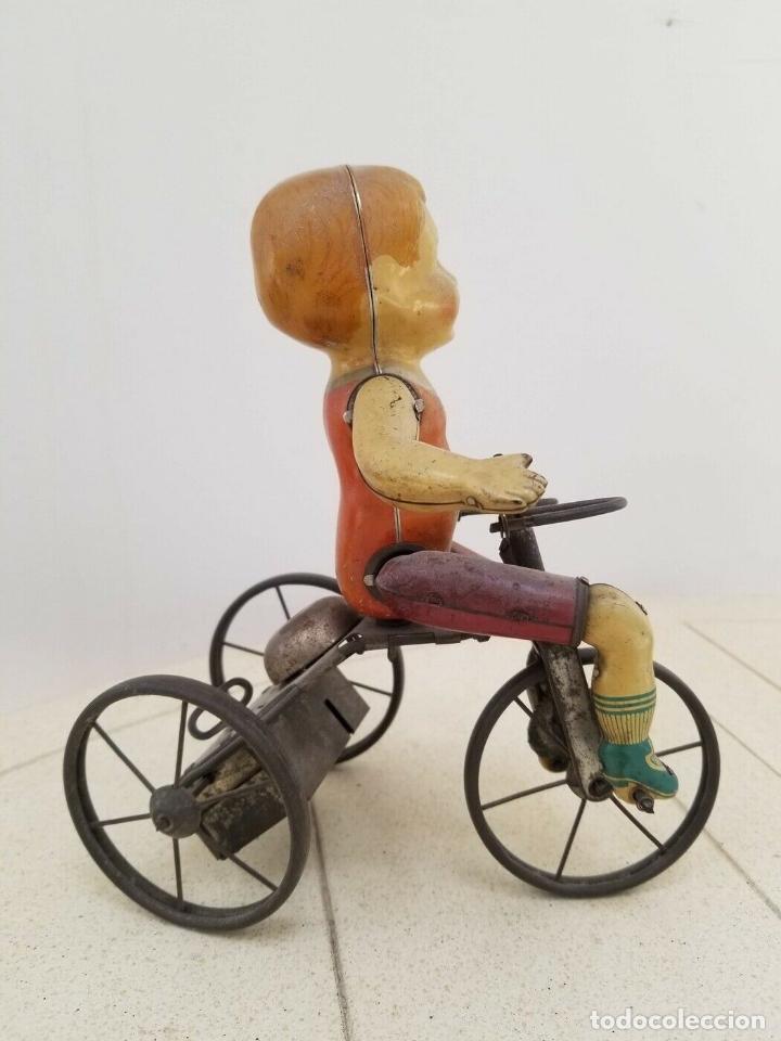Juguetes antiguos de hojalata: MARXS NO CONFUNDIR CON UNIQUE ART KIDDY ESTA PIEZA RARISIMA MARX AÑOS 1900 TRICICLO CICLISTA MUSEO - Foto 3 - 156002706