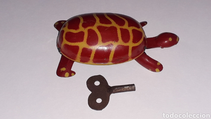 Juguetes antiguos de hojalata: Tortuga con mecanismo a cuerda, Juguetes Rico RSA made in Spain, original años 40. - Foto 5 - 157303202