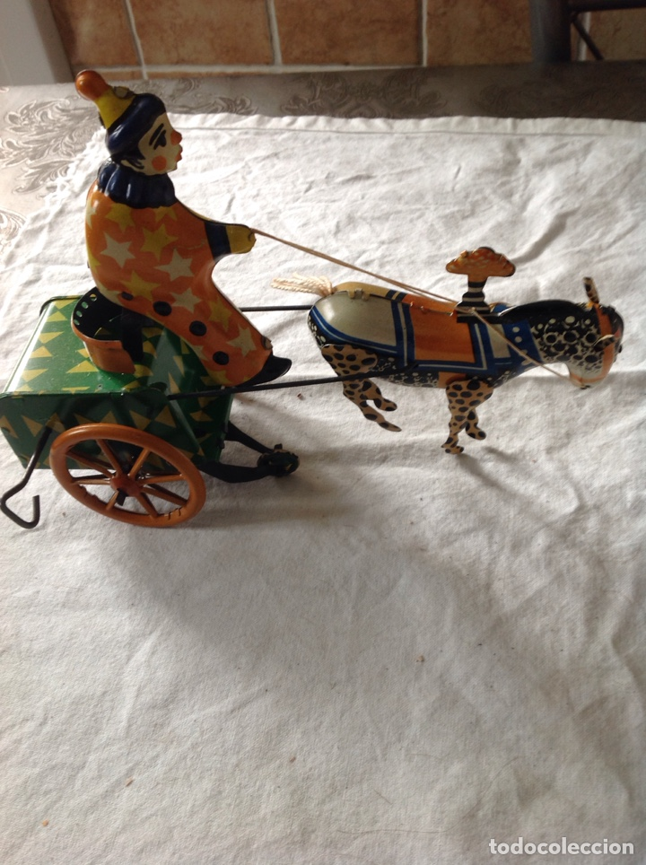 Juguetes antiguos de hojalata: ANTIGUO CARRO PAYASO HOJALATA - Foto 2 - 157365108