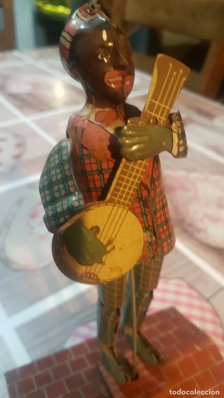 Juguetes antiguos de hojalata: MAGNIFICO MUSEO ANTIGUO JUGUETE HOJALATA UNIQUE ART RARISIMO Jazzbo Jim Americano Negro banjo 1920s - Foto 5 - 158576550