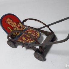 Juguetes antiguos de hojalata - Antiguo juguete español de hoja de lata litografíada carrito 14x6x8.totalmente original - 160355534
