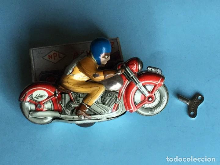 Juguetes antiguos de hojalata: Moto Schuco, Made in US Zone Germany, Motodrill 1006, - Foto 3 - 160379074