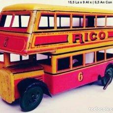 Juguetes antiguos de hojalata: ANTIGUO RICO REF. 119 BUS 2 PISOS DE HOJALATA LITOGRAFIADA. Lote 115189603