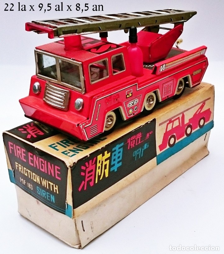 MF REF 183 RARO TRUCK FIRE ENGINE FRICTION WHIT SIREN TIN TOY AÑOS 70 (Juguetes - Juguetes Antiguos de Hojalata Extranjeros)