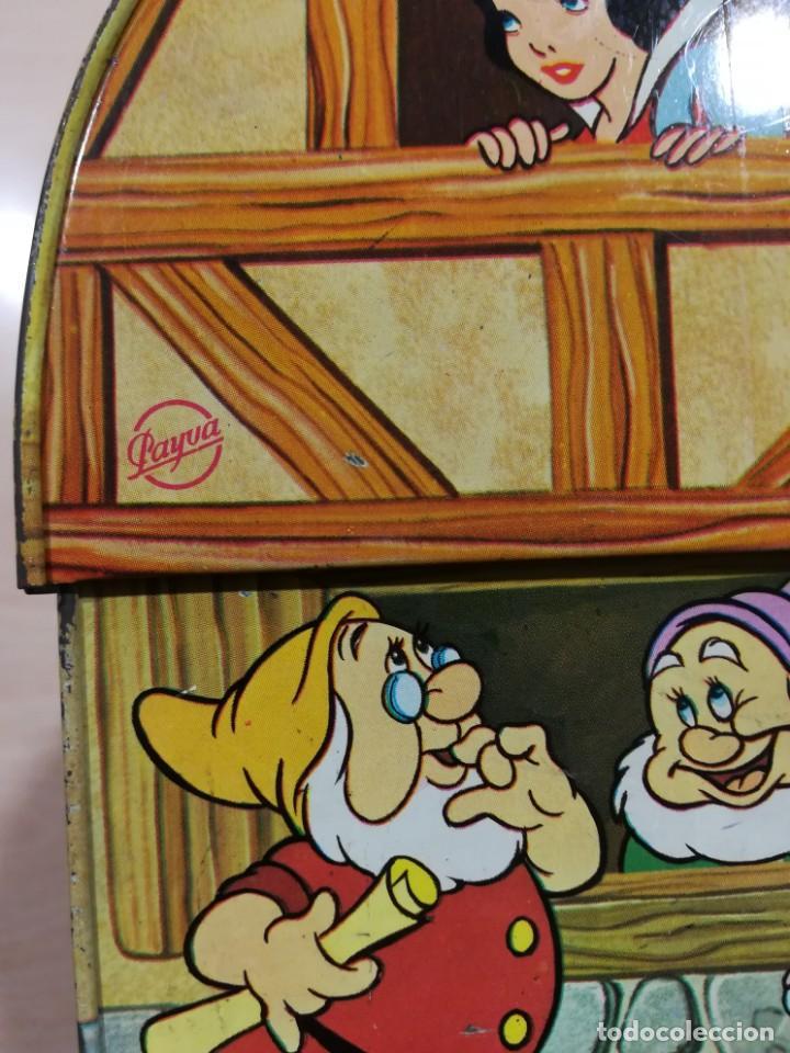 Juguetes antiguos de hojalata: antigua fiambrera cabas tartera caja hojalata blancanieves y los siete enanitos walt disney - Foto 3 - 162985862