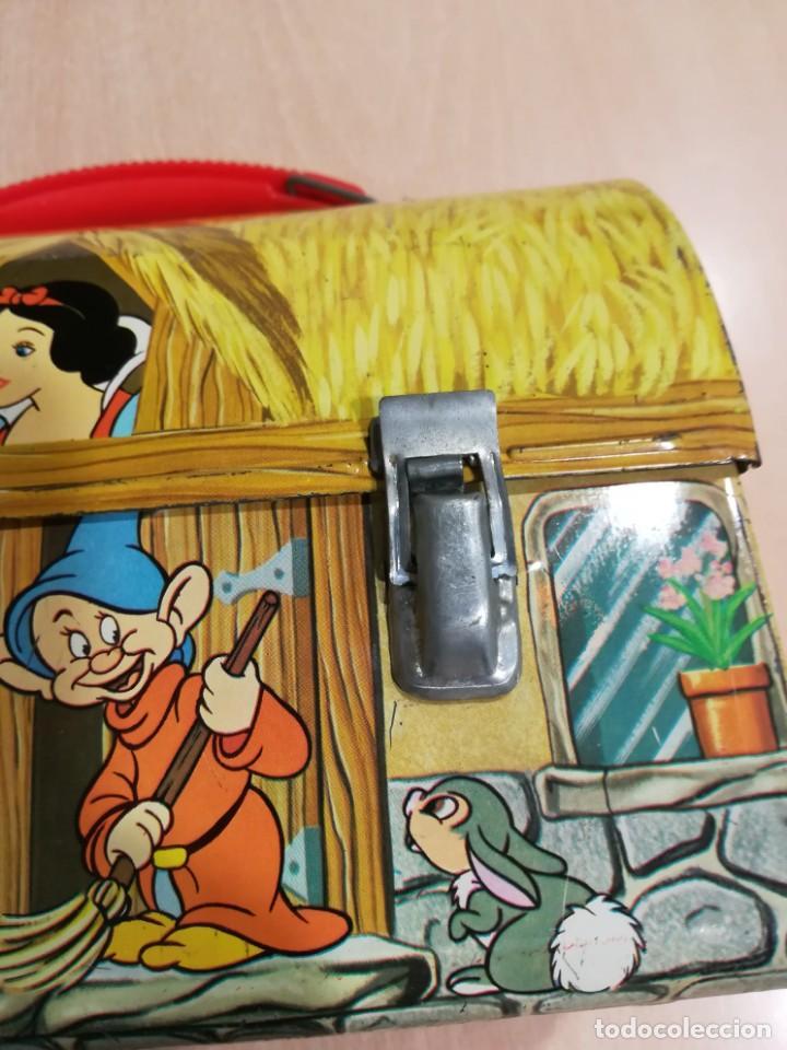 Juguetes antiguos de hojalata: antigua fiambrera cabas tartera caja hojalata blancanieves y los siete enanitos walt disney - Foto 10 - 162985862