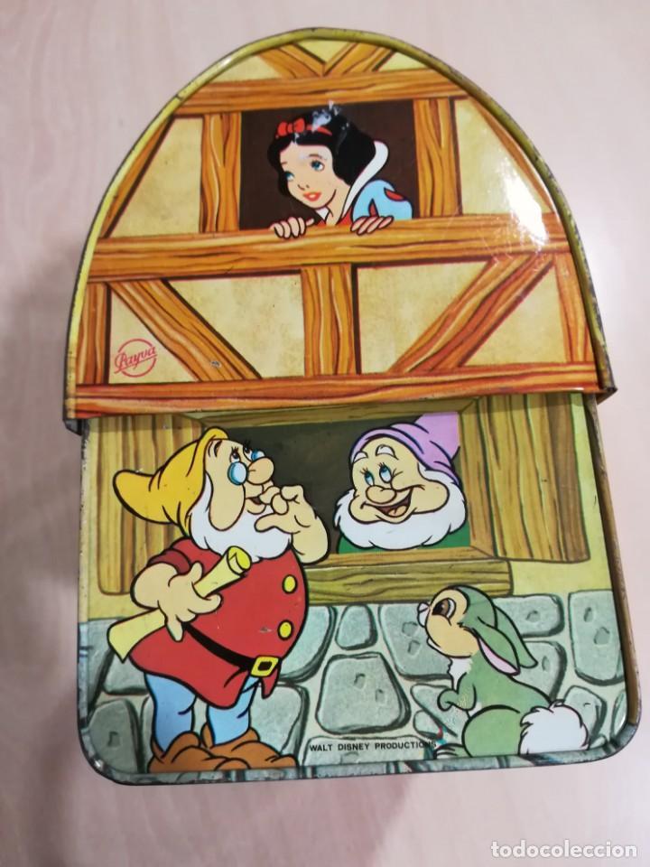 Juguetes antiguos de hojalata: antigua fiambrera cabas tartera caja hojalata blancanieves y los siete enanitos walt disney - Foto 12 - 162985862