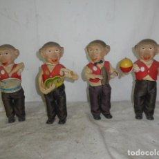 Juguetes antiguos de hojalata: LOTE 4 ANTIGUO MONO MUSICO DE HOJALATA A CUERDA, JUGUETE, FUNCIONAN. FABRICACION ALEMANA, ORIGINAL.. Lote 164764030