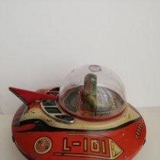 Juguetes antiguos de hojalata: OVNI, PLATILLO VOLANTE, NAVE ESPACIAL, ORIGINAL, YOSHIYA L-101. JAPAN KO. Lote 165519486