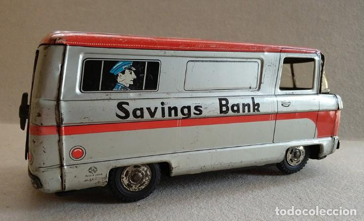 Juguetes antiguos de hojalata: furgon blindado hucha armored car savings bank hayashi japan antiguo años 60 - Foto 5 - 172009564
