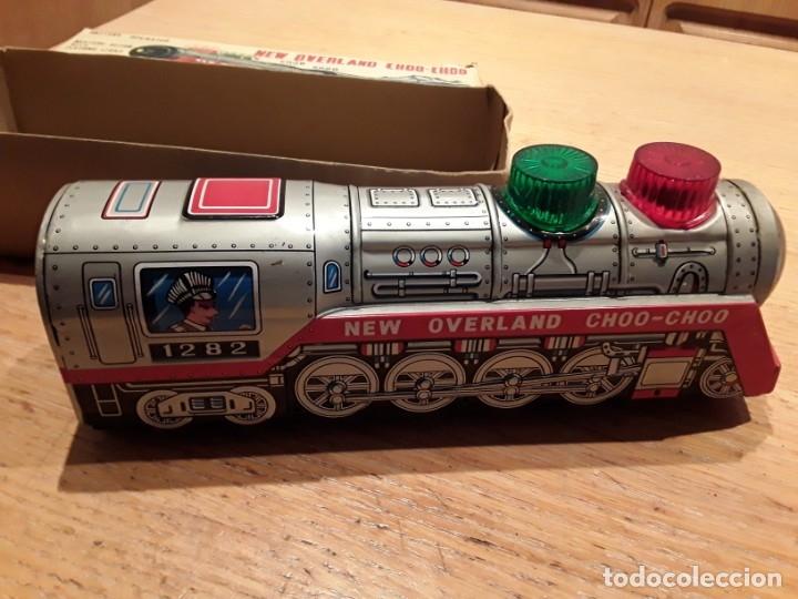 Juguetes antiguos de hojalata: Tren chapa litografiada, Kanto, Japonés, funcionando perfecto. - Foto 3 - 210708535