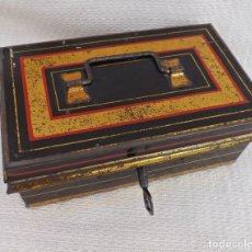 Juguetes antiguos de hojalata: CAJA DE CAUDALES MADE IN ENGLAND 15X9. Lote 176304067
