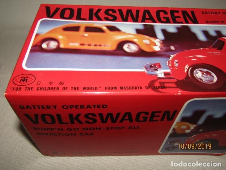 Juguetes antiguos de hojalata: Antiguo Volskswagen Beetle Eléctrico de MASUDAYA Fabricado en Japón - Año 1960-70s. - Foto 4 - 176304284