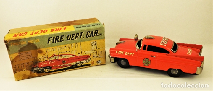 Juguetes antiguos de hojalata: Masudaya (Modern Toys) Coche de bomberos - Foto 2 - 176723828