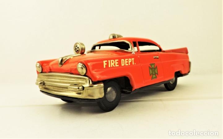 Juguetes antiguos de hojalata: Masudaya (Modern Toys) Coche de bomberos - Foto 3 - 176723828