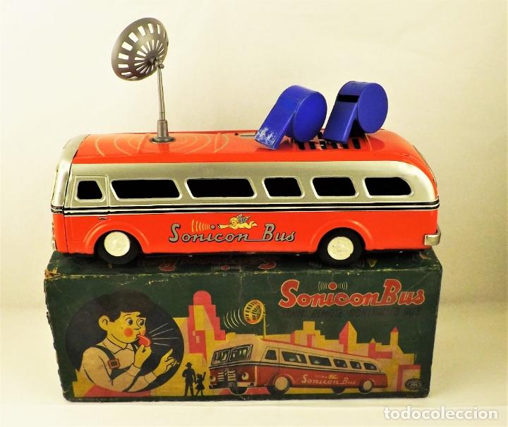 Juguetes antiguos de hojalata: Bus Sonicon Masudaya original - Foto 10 - 176778883