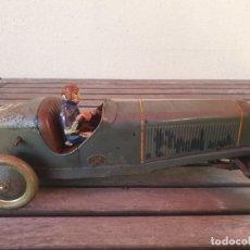 Juguetes antiguos de hojalata: ANTIGUO Y GRAN COCHE CARRERAS Nº 6 DE HOJALATA (LATA) DELAGE CON PERSONAJE - BOXED JEP DELAGE RACER. Lote 178818266