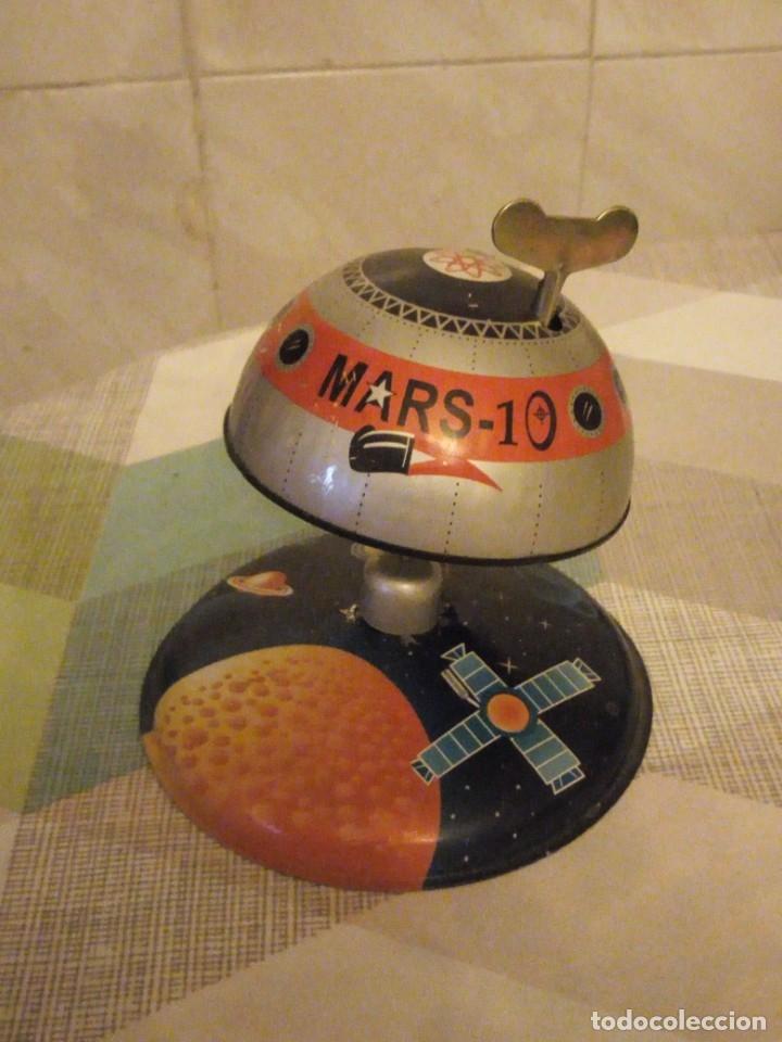NAVE ESPACIAL, OVNI EXPLORANDO LA TIERRA,MARS-10 HOJALATA.A CUERDA LITOGRAFIADA (Juguetes - Juguetes de Hojalata: Reproducciones y Actuales )