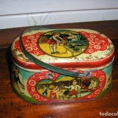 Juguetes antiguos de hojalata: CESTITA MERENDERA DE RICO, TAMAÑO GRANDE 17 CM DE LARGO X 8 CM DE ALTO. Lote 182315198