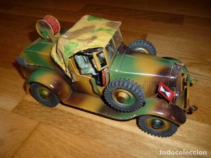 Juguetes antiguos de hojalata: Hausser Elastolin coche vehículo militar de hojalata original años 30 transmisiones no Lineol - Foto 3 - 182572468