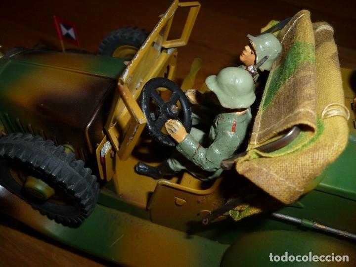 Juguetes antiguos de hojalata: Hausser Elastolin coche vehículo militar de hojalata original años 30 transmisiones no Lineol - Foto 9 - 182572468