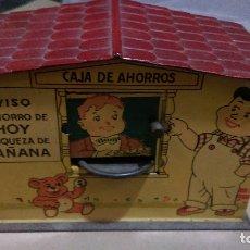 Juguetes antiguos de hojalata: AB-727.- ANTIGUA HUCHA DE HOJALATA LITOGRAFIADA , RICO.- CAJA DE AHORROS , MED. 13 8 X 6,5 . Lote 182988038