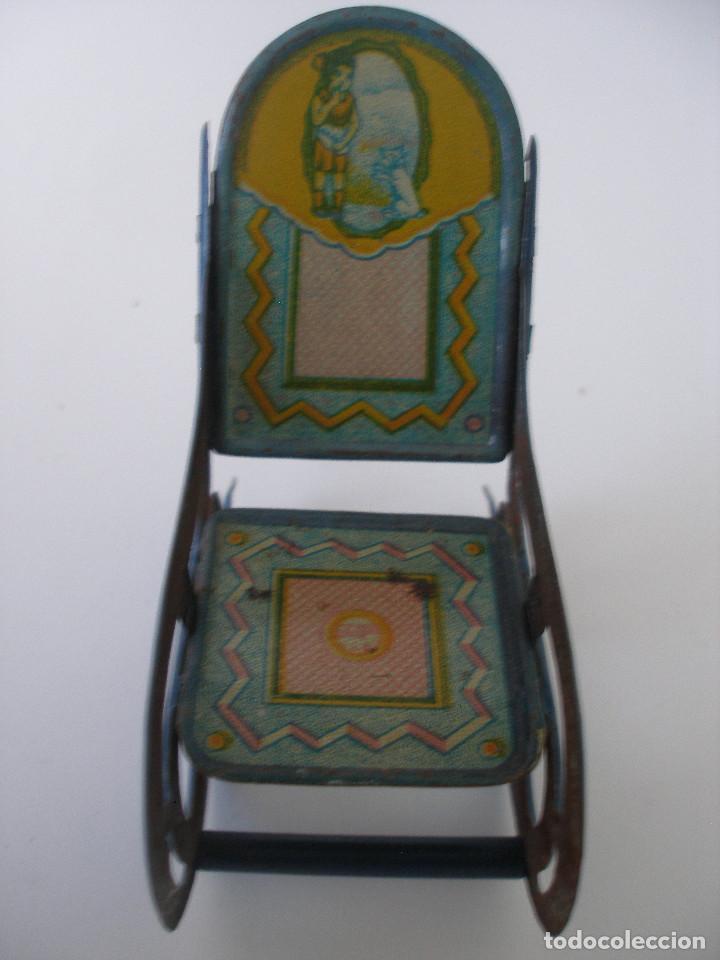 Juguetes antiguos de hojalata: Mecedora hojalata litografíada Rico R.S.A. años 30 - Foto 2 - 186162333