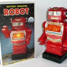 Brinquedos antigos de folha-de-Flandres: BATTERY OPERATED ROBOT HONG-KONG TOTALMENTE NUEVO EN SU CAJA (VER DETALLES) CAMINA,HACE LUZ Y SONIDO. Lote 185699546