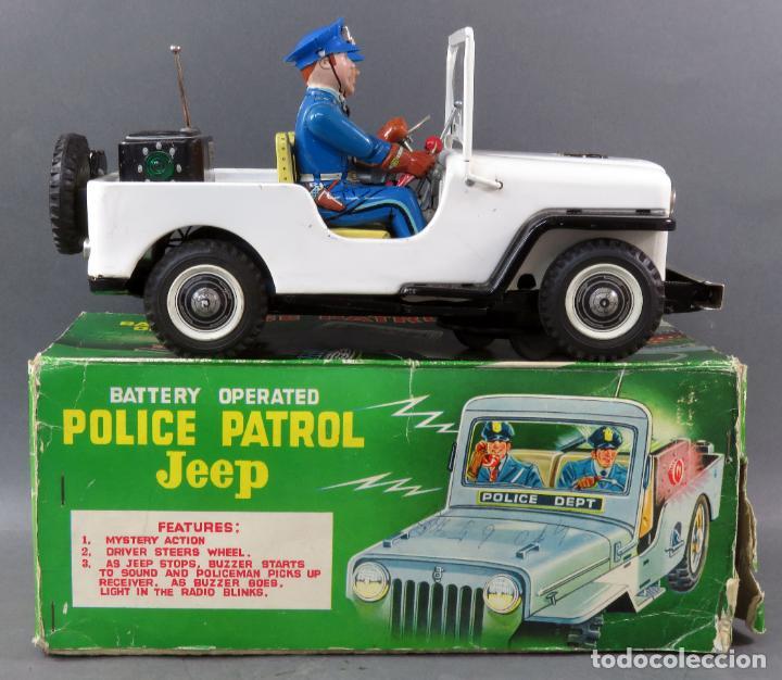 Juguetes antiguos de hojalata: Police Patrol Nomura Toys Battery Operated Japan Jeep japonés policía a pilas con caja años 60 - Foto 2 - 189091448