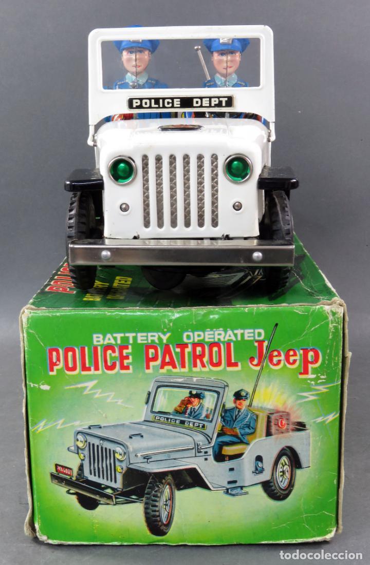 Juguetes antiguos de hojalata: Police Patrol Nomura Toys Battery Operated Japan Jeep japonés policía a pilas con caja años 60 - Foto 3 - 189091448