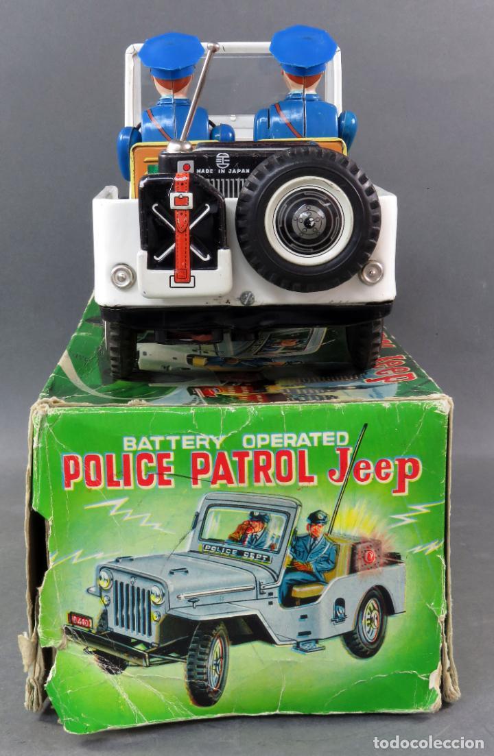Juguetes antiguos de hojalata: Police Patrol Nomura Toys Battery Operated Japan Jeep japonés policía a pilas con caja años 60 - Foto 4 - 189091448