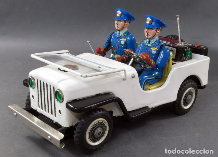 Juguetes antiguos de hojalata: Police Patrol Nomura Toys Battery Operated Japan Jeep japonés policía a pilas con caja años 60 - Foto 6 - 189091448