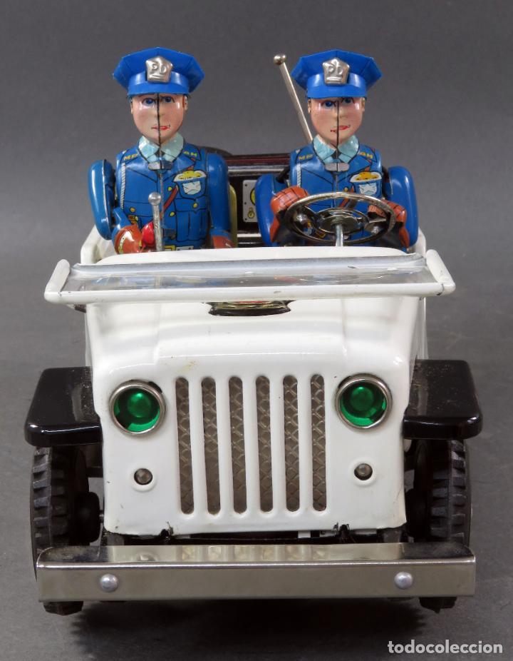 Juguetes antiguos de hojalata: Police Patrol Nomura Toys Battery Operated Japan Jeep japonés policía a pilas con caja años 60 - Foto 7 - 189091448