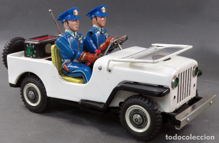 Juguetes antiguos de hojalata: Police Patrol Nomura Toys Battery Operated Japan Jeep japonés policía a pilas con caja años 60 - Foto 8 - 189091448