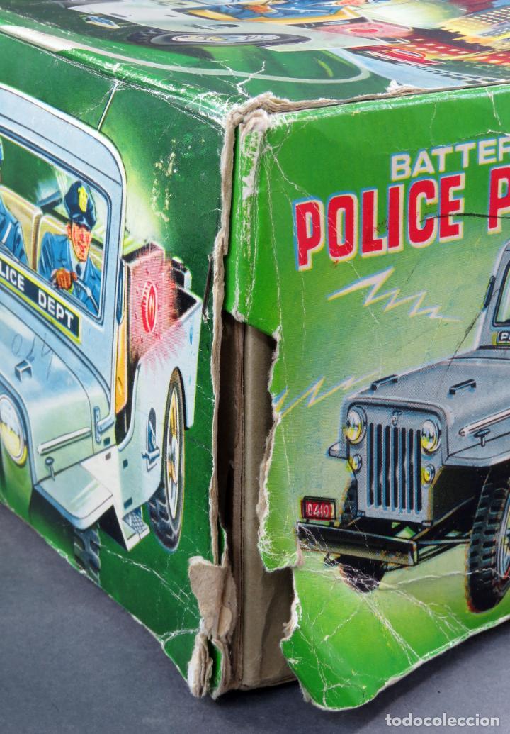 Juguetes antiguos de hojalata: Police Patrol Nomura Toys Battery Operated Japan Jeep japonés policía a pilas con caja años 60 - Foto 13 - 189091448