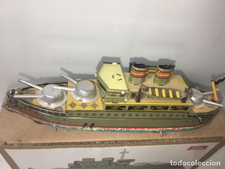Juguetes antiguos de hojalata: Barco Juguete hoja de lata Acuerda paya En su caja original - Foto 2 - 193879793