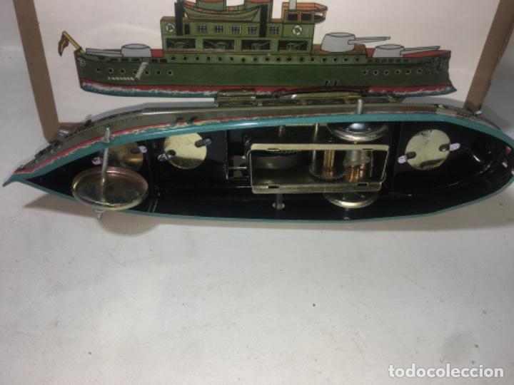 Juguetes antiguos de hojalata: Barco Juguete hoja de lata Acuerda paya En su caja original - Foto 3 - 193879793