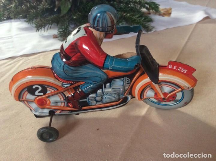 Juguetes antiguos de hojalata: ANTIGUA MOTO TECHNOFIX AÑOS 50 HOJALATA LITOGRAFIADA A CUERDA FUNCIONANDO 325,00 eur - Foto 2 - 194296818