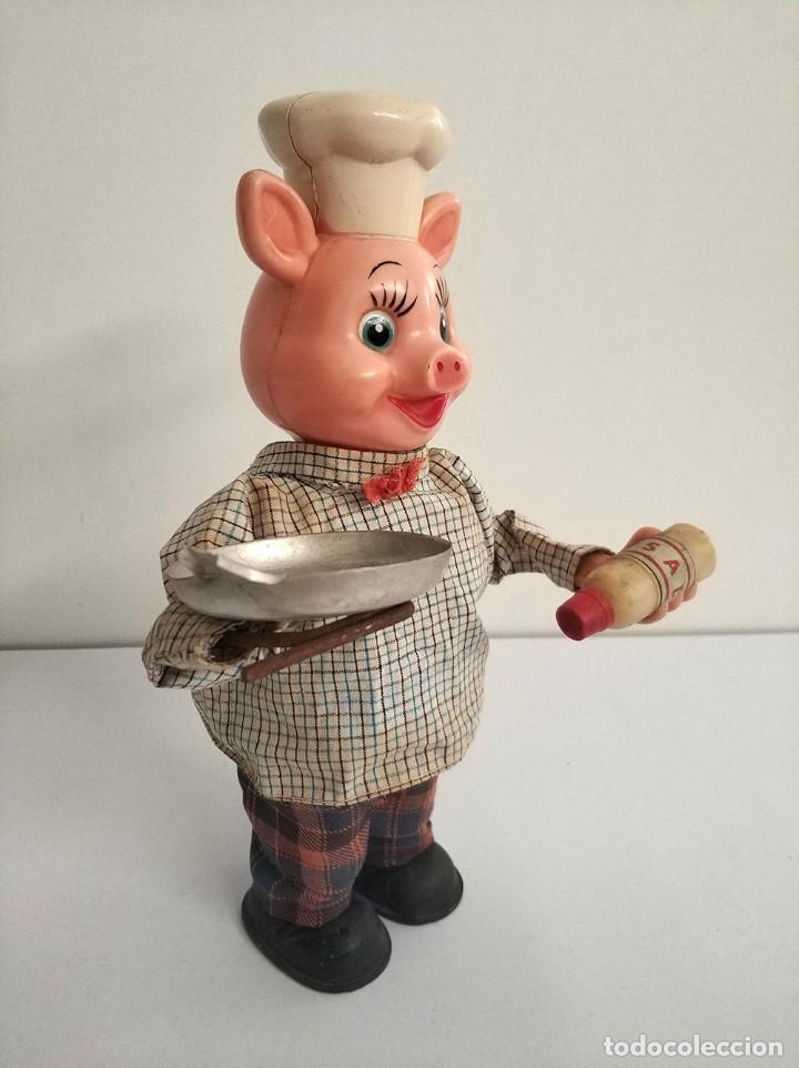 Juguetes antiguos de hojalata: figura cerdo cocinero automata japonés años 50 piggy cook - Foto 6 - 194491801