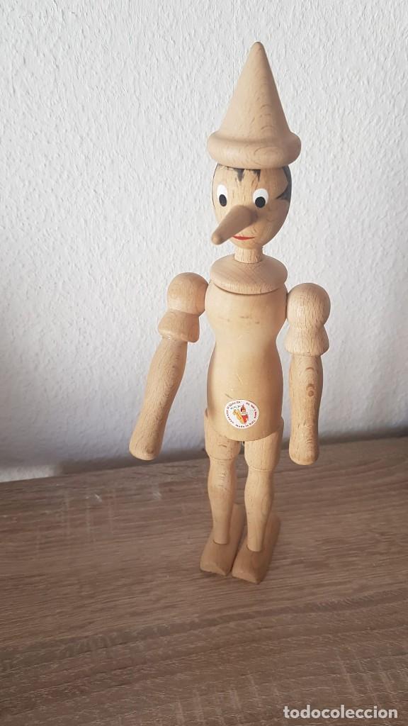 Juguetes antiguos de hojalata: Pinocho Made in ITALy hecho en madera articulado. - Foto 5 - 194755080