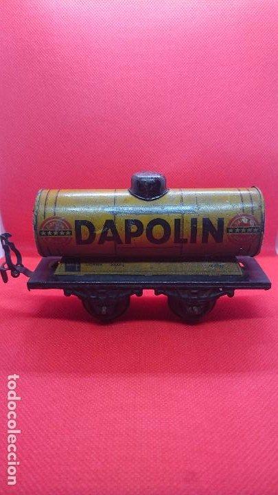 Juguetes antiguos de hojalata: Vagón de tren marca Fandor. Made in Germany 1910 - Foto 4 - 194783037