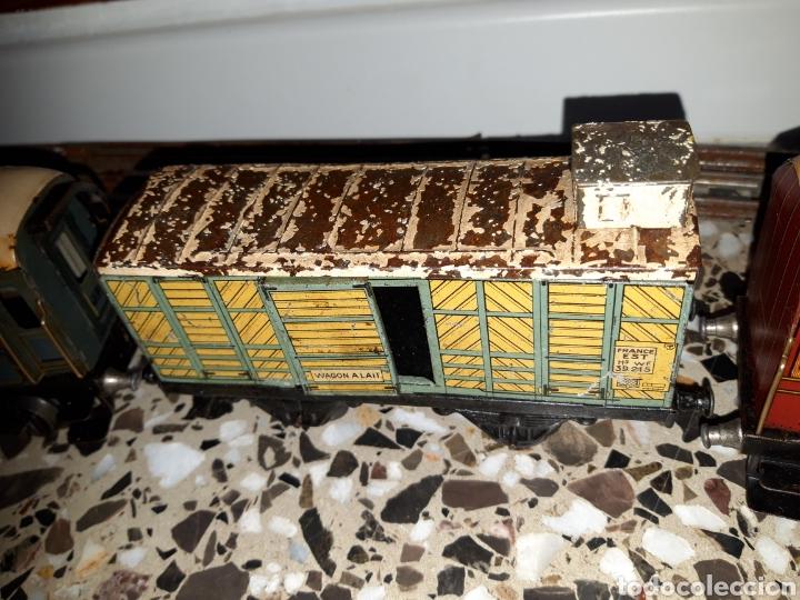 Juguetes antiguos de hojalata: ANTIGUO TREN A CUERDA VAGONES DE HOJALATA J.DE.P MADE IN FRANCE DE TODO UN POCO - Foto 23 - 194881492